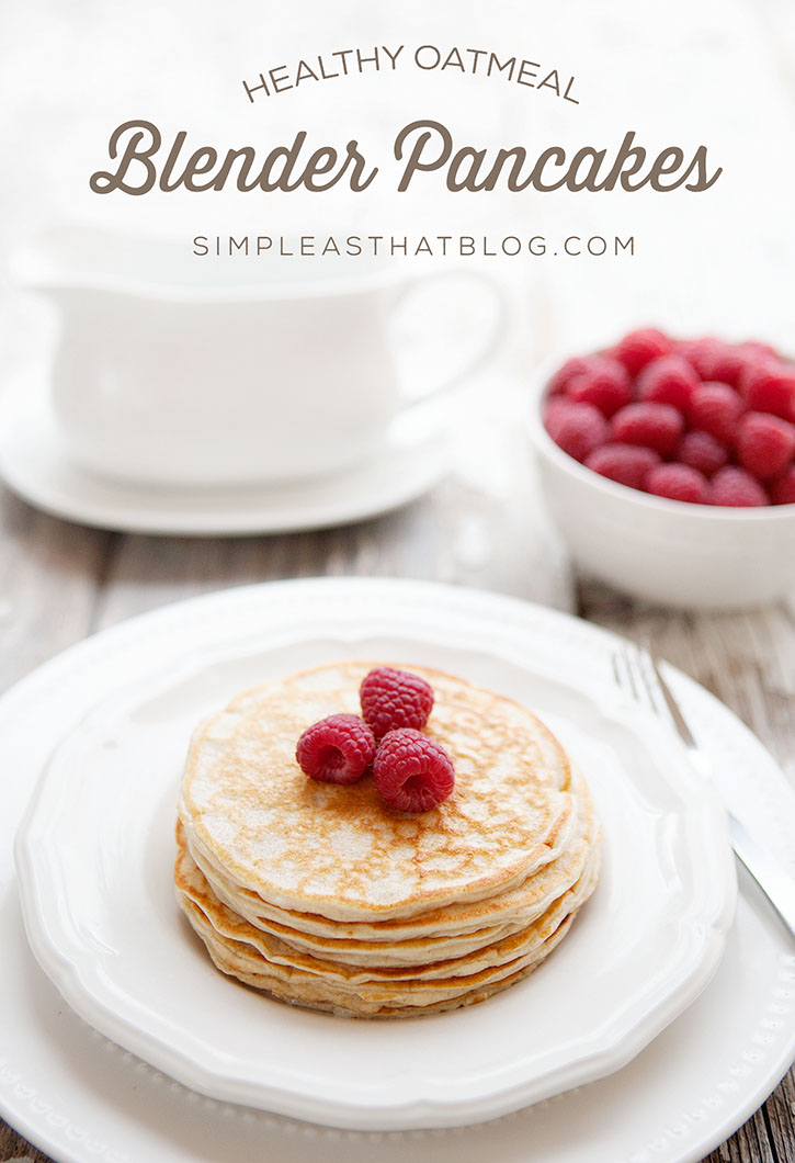 These healthy oatmeal blender pancakes are packed with protein, whole grains and fibre! The best part is, they taste delicious and are 100% kid approved!