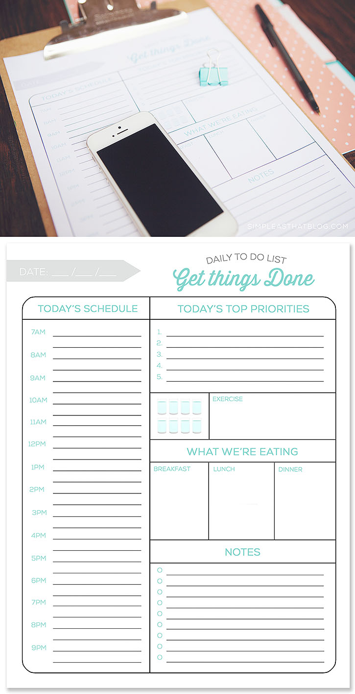 Free printable daily to do list and quick tips to make the most of your time and have a more productive day