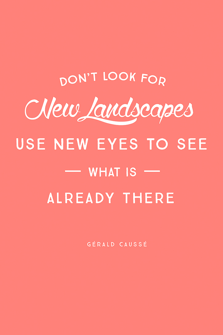 """Don't look for new landscapes, use new eyes to see what is already there."" – Gérald Caussé"