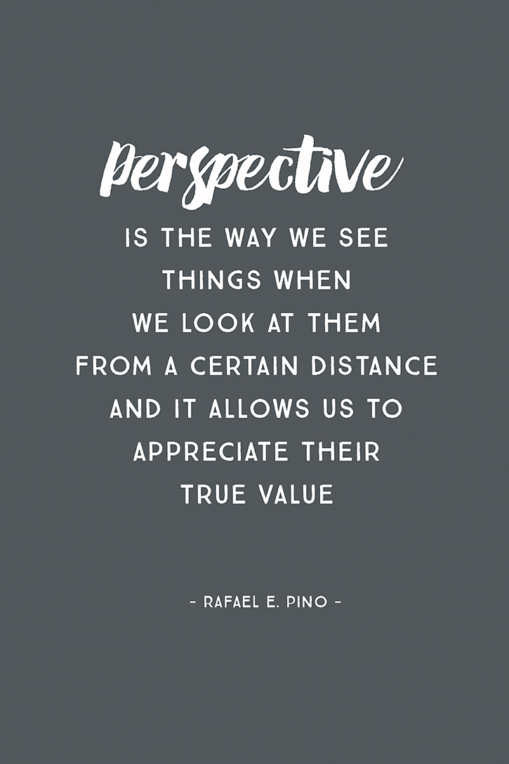 """Perspective is the way we see things when we look at them from a certain distance, and it allows us to appreciate their true value."" – Rafael E. Pino"