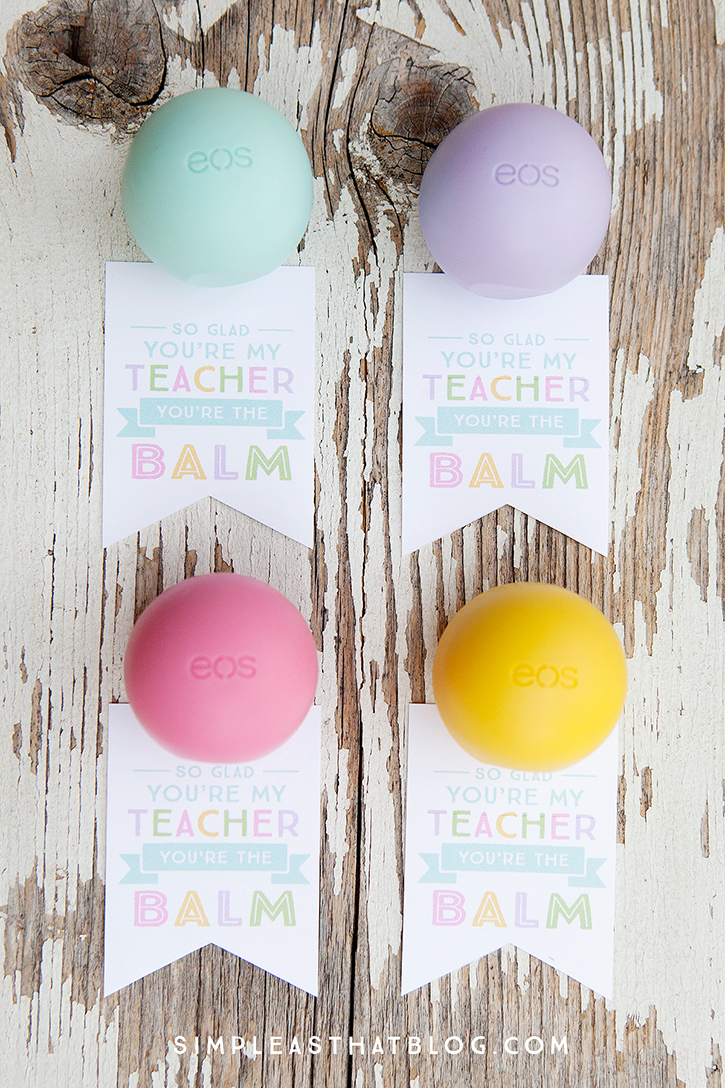 graphic about You're the Balm Teacher Free Printable titled EOS Youre the Balm Instructor Thank Yourself Tags