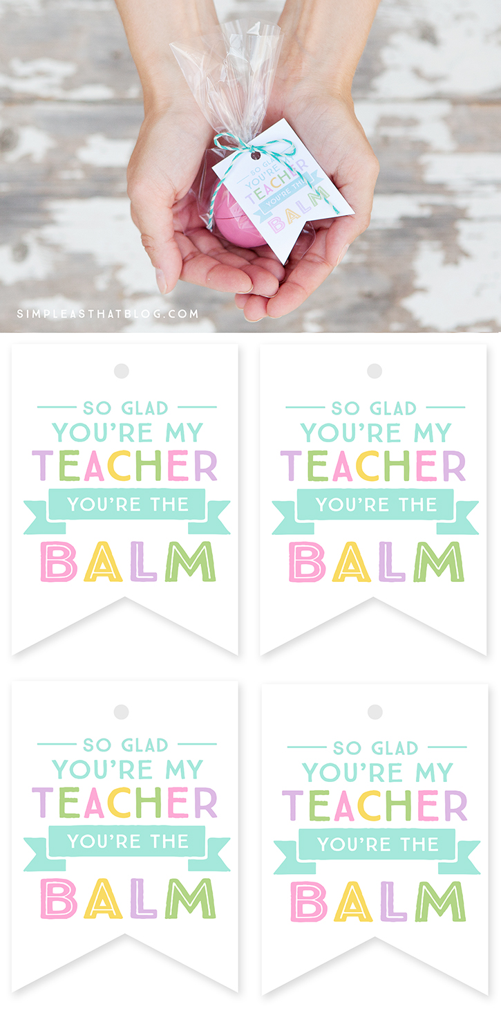 image relating to You're the Balm Teacher Free Printable referred to as EOS Youre the Balm Instructor Thank Your self Tags