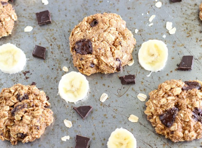 Featured Image - Healthy Chocolate Chunk Banana Oatmeal Cookies