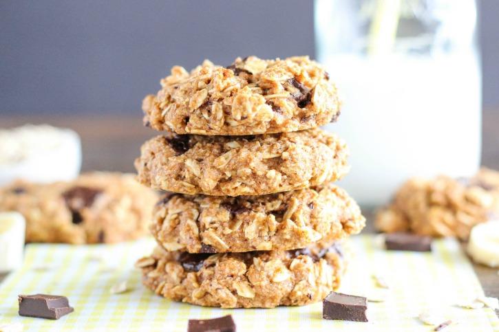 Healthy Chocolate Chunk Banana Bread Oatmeal Cookie Recipe
