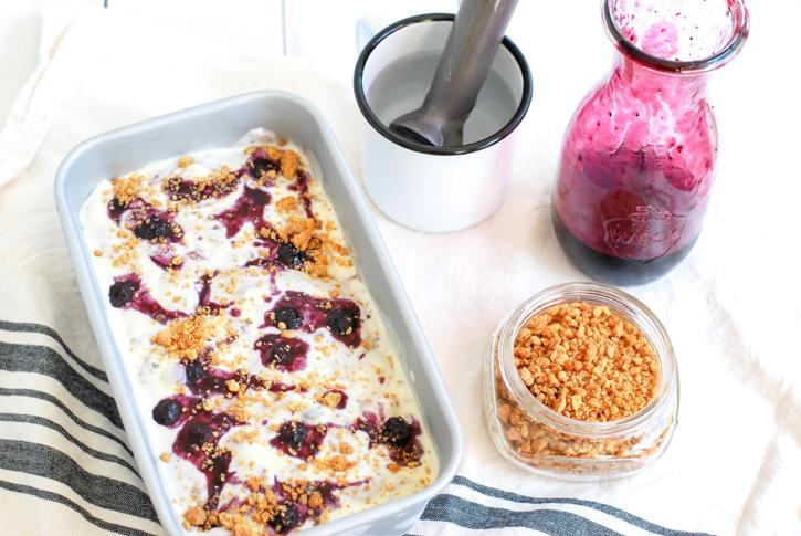 Homemade Blueberry Cheesecake Ice Cream