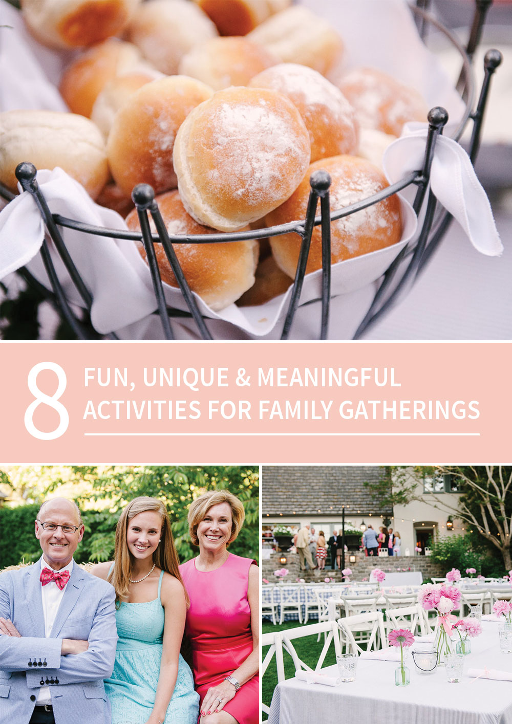 8 Unique and Meaningful Activities for Family Gatherings. To help you squeeze more quality and connection into your events. Perfect if you have any summer gatherings coming up!