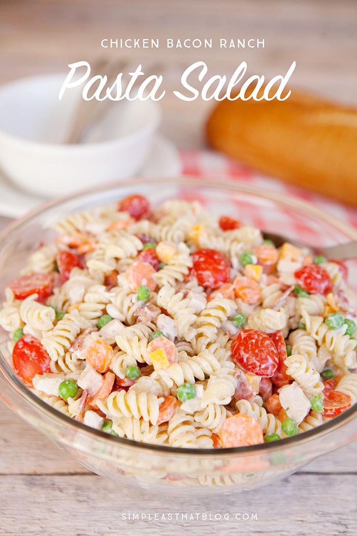 chicken bacon ranch pasta salad with creamy greek yogurt