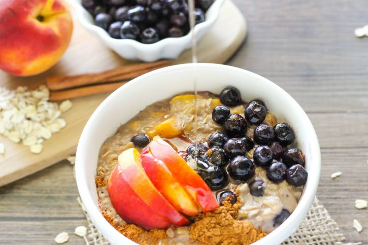 Blueberry and Peach Oatmeal sweetened with honey