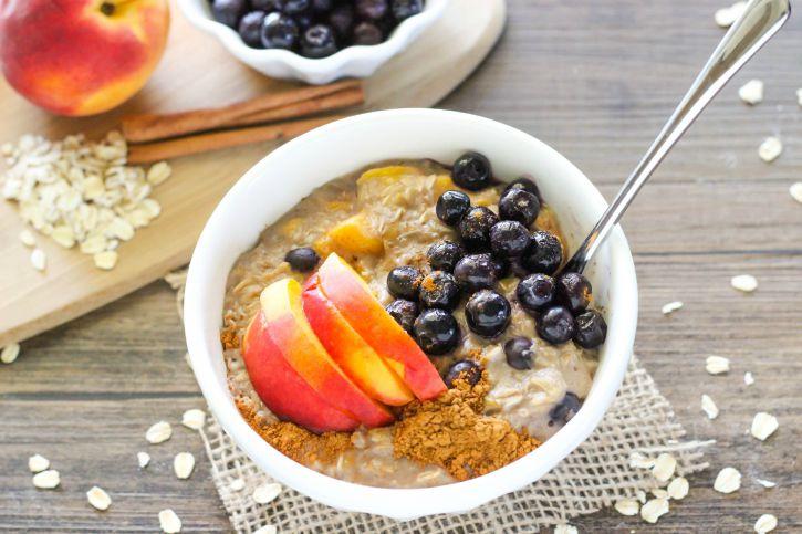 Fresh Blueberry Peach Oatmeal - a delicious summertime oatmeal recipe