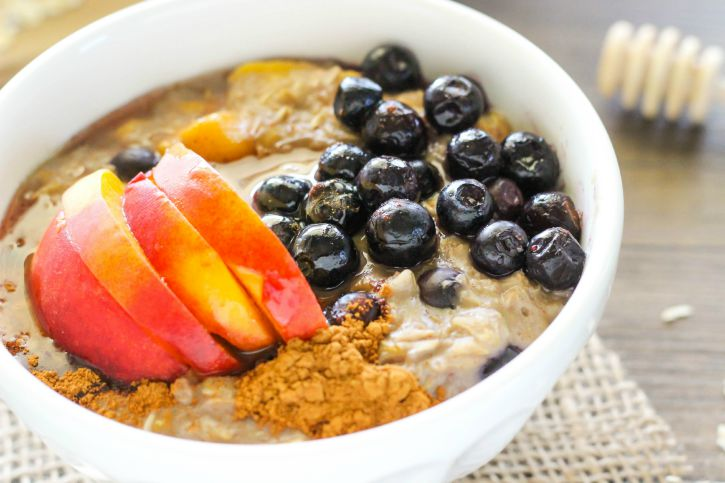 Oatmeal with fresh blueberries and peaches.  Great for back to school!