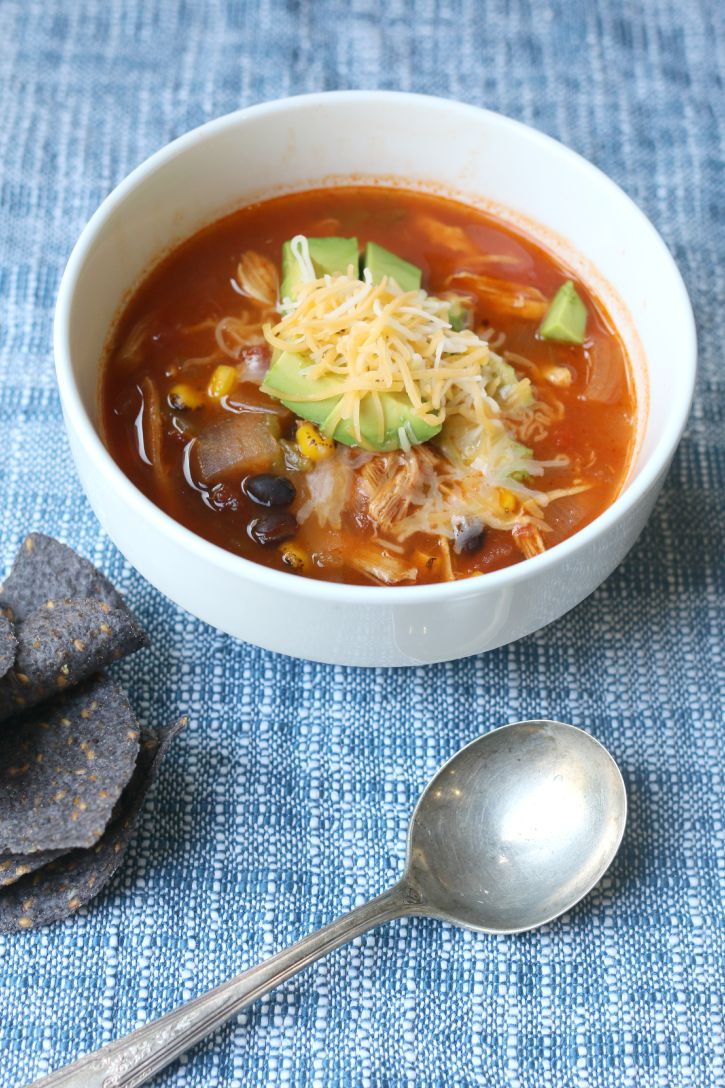 ... and tasty, this Slow Cooker Chicken Tortilla Soup is a Fall favorite