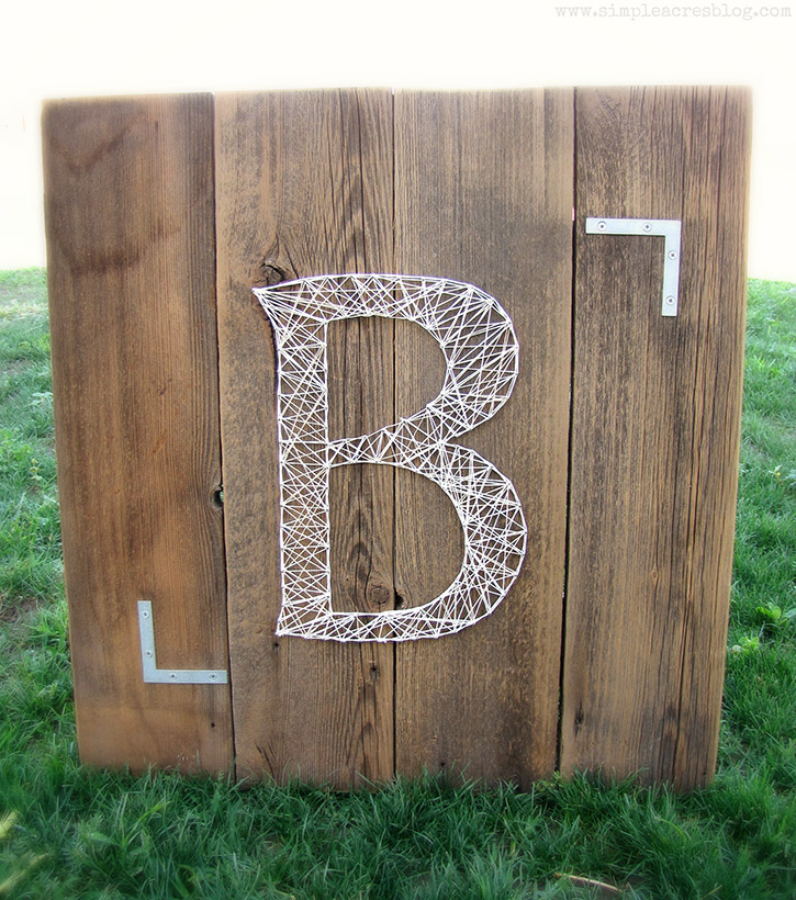 Monogram String Art Using Upcycled Pallet Boards