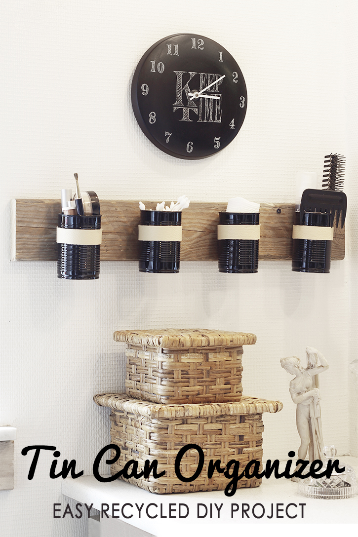 Recycled DIY tin can wall organizer