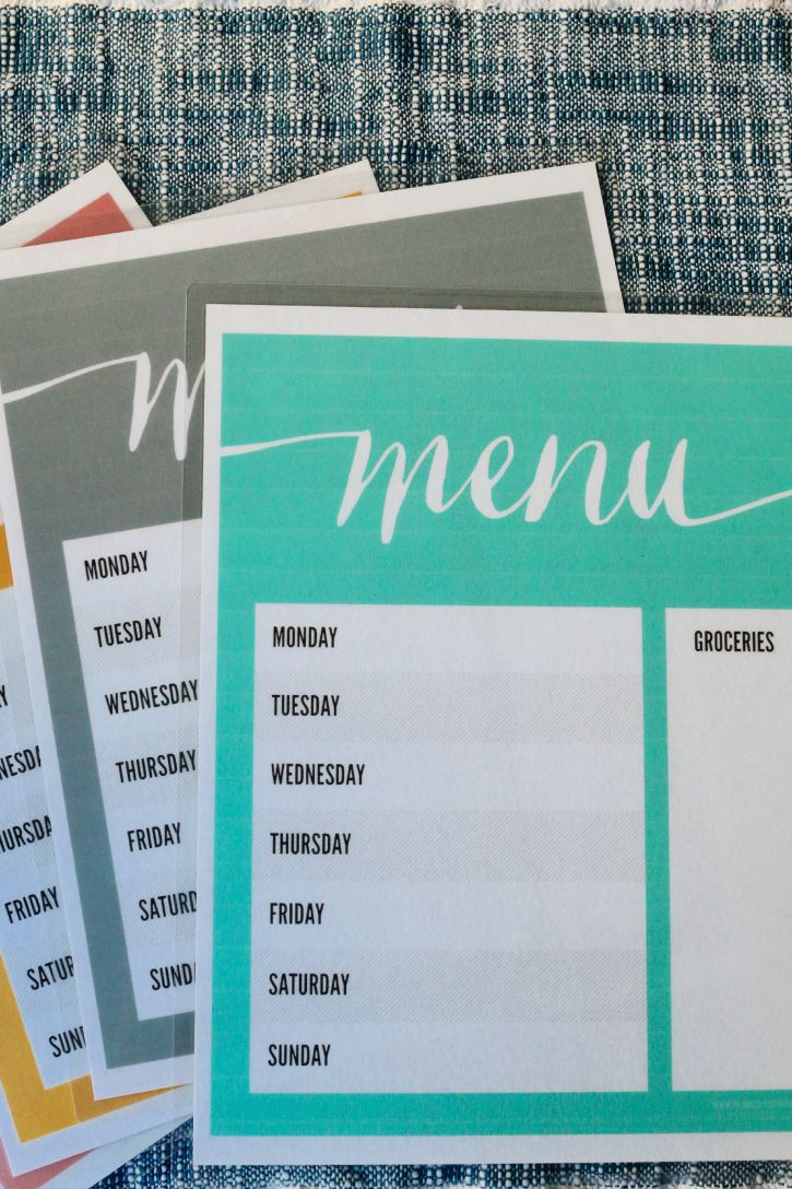 Laminated menus for busy week nights