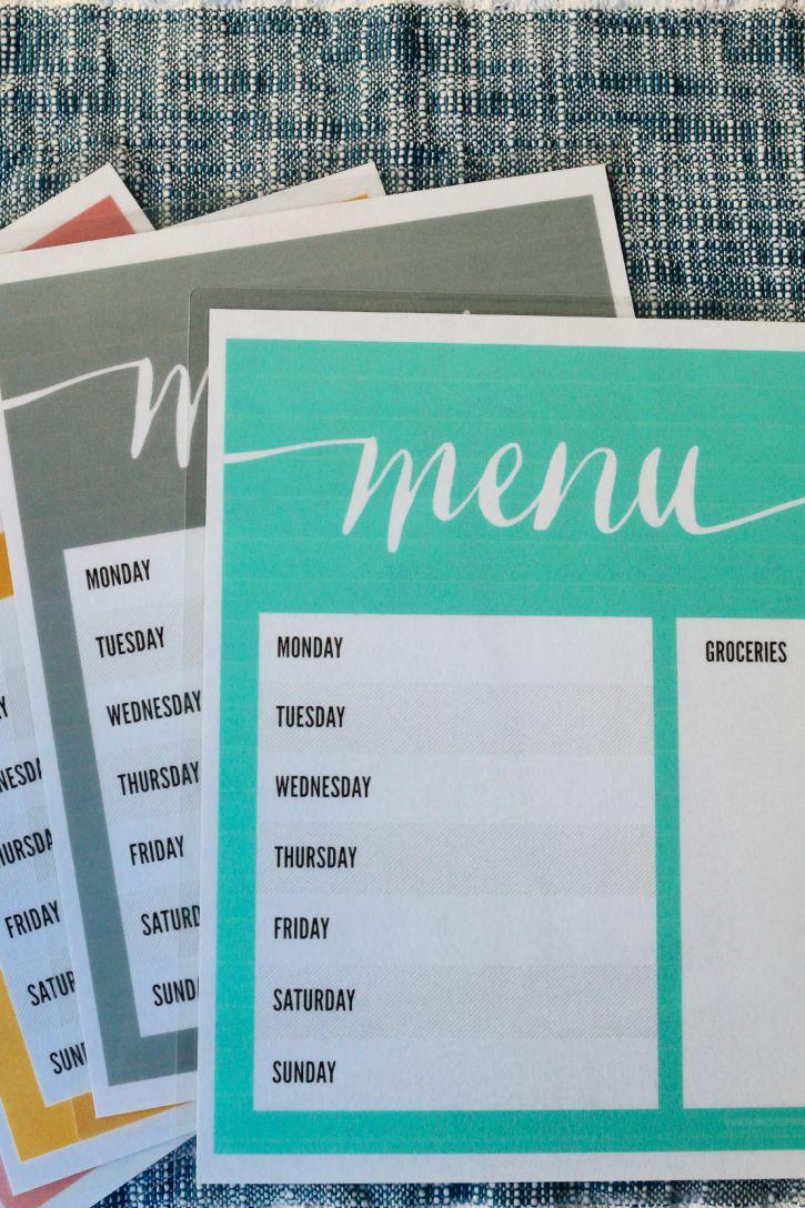 Laminated menus for busy week nights