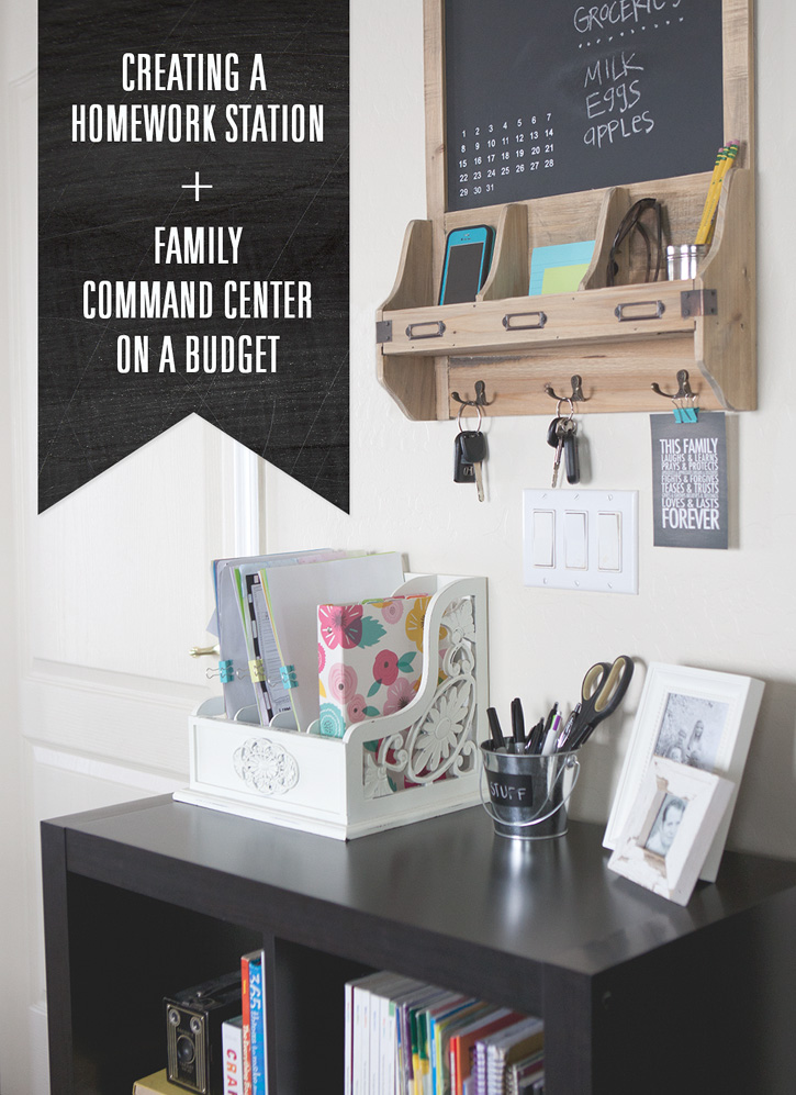 Budget friendly family command center and homework station.