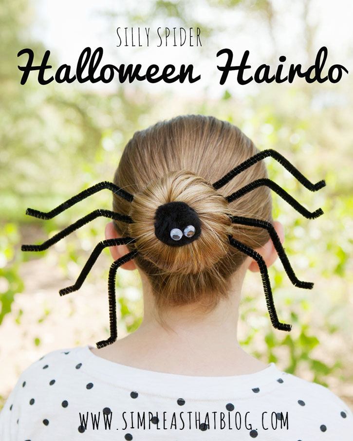 Dress up a simple bun with this Silly Spider Halloween Hairdo