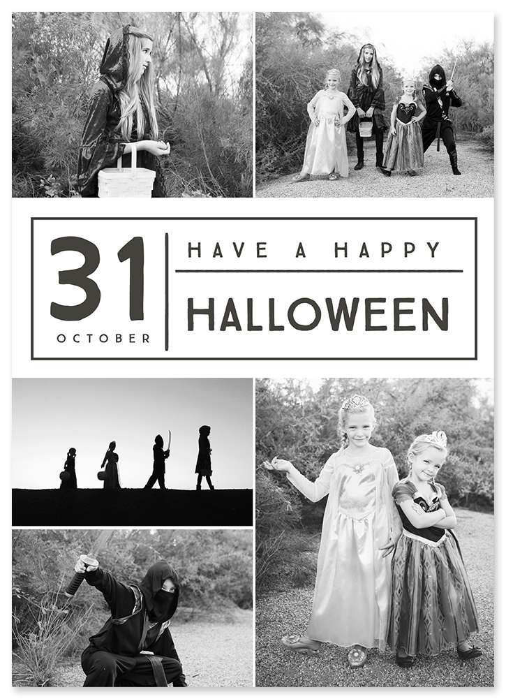 Share Halloween memories with loved ones using these free photo card templates.