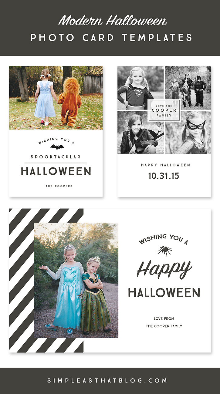 Modern Halloween Photo Card Templates | simpleasthatblog.com