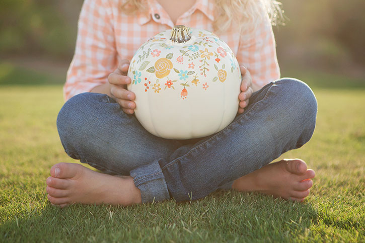 Diy hand painted pumpkins you can use year after year Flower painted pumpkins