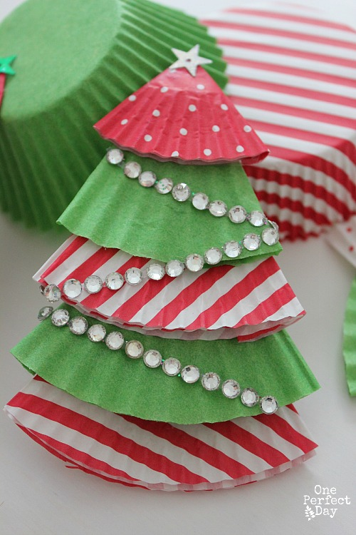 Cupcake Liner Christmas Ornaments