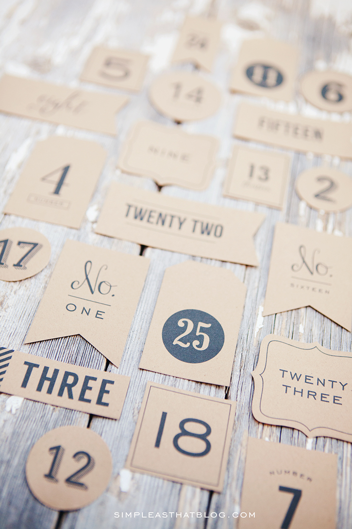 Free printable Christmas countdown advent tags