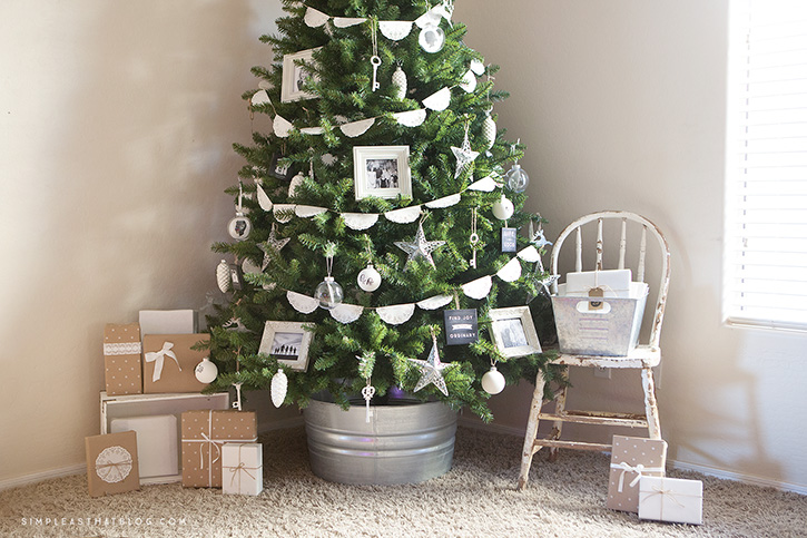 An ode to those moments that are most precious to us, this simple, rustic memory tree is a beautiful combination of photos and DIY ornaments.