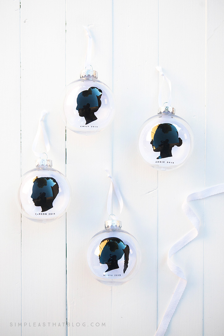 These simple, DIY, silhouette keepsake ornaments will help you capture a moment in time as you display your children's profiles year after year on your Christmas tree.