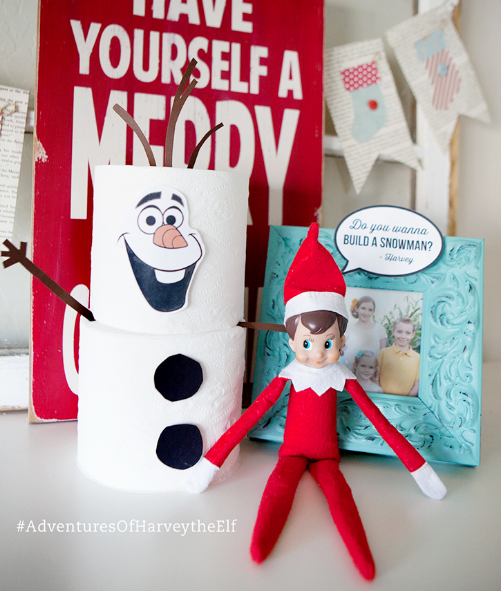 Elf makes an Olaf Snowman out of toilet paper!