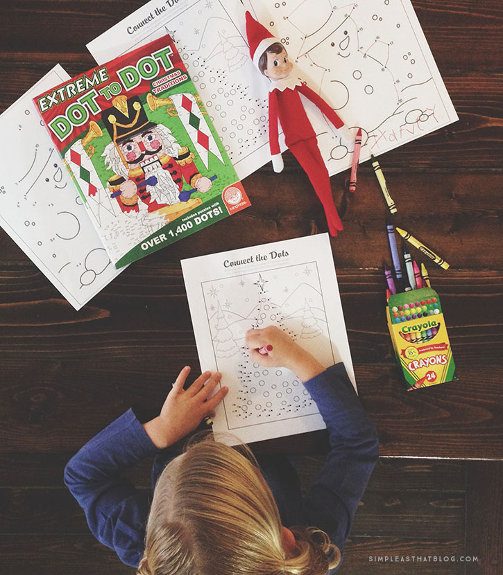 Elf brings a special coloring book, coloring pages, or dot-to-dot activity pages.