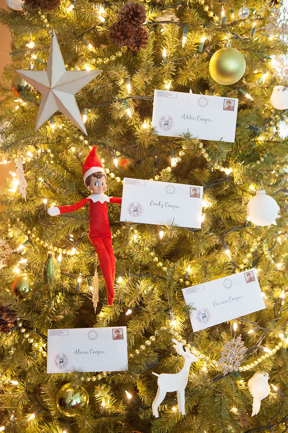 Elf delivers letters from Santa.