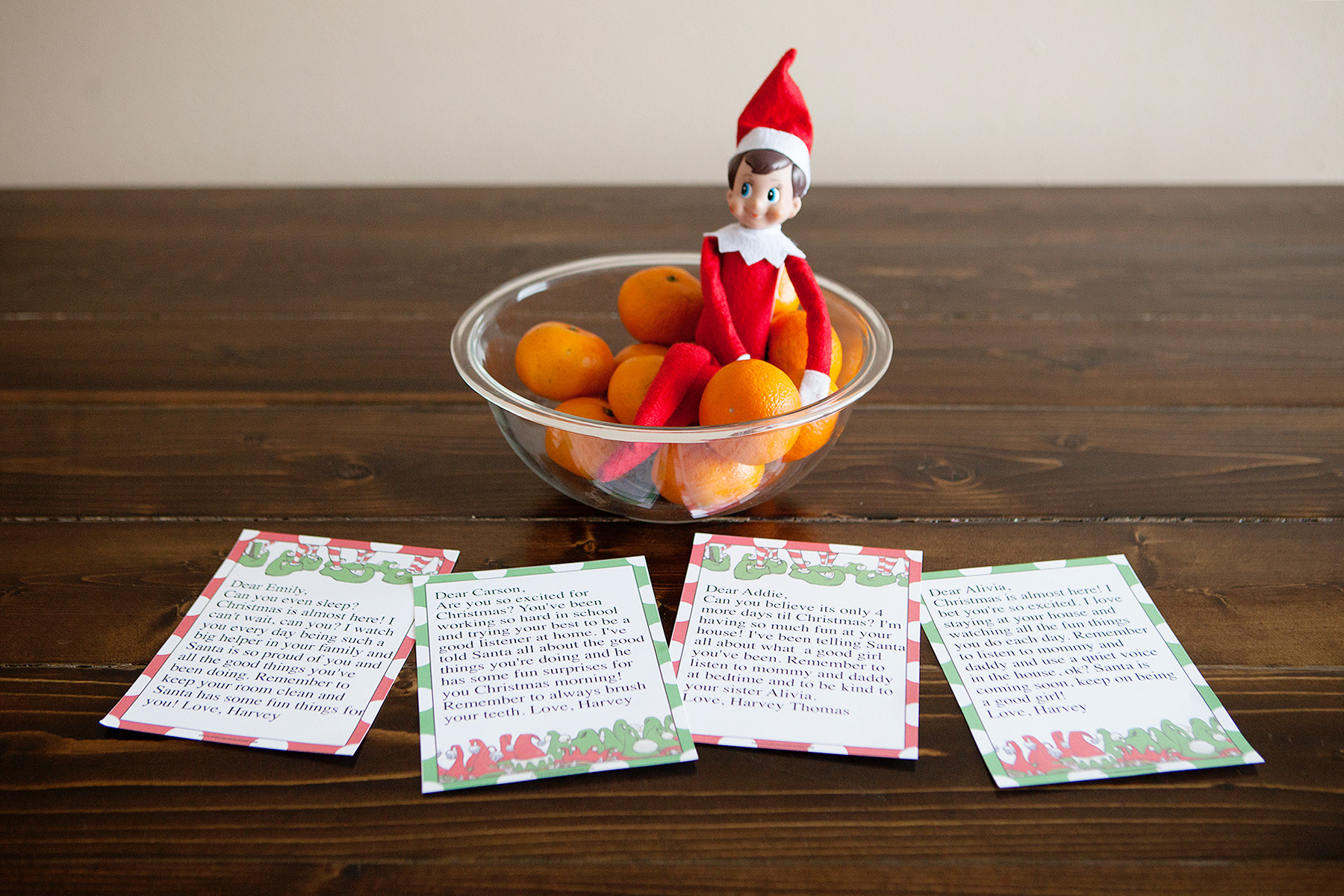 Elf leaves special notes for each child.