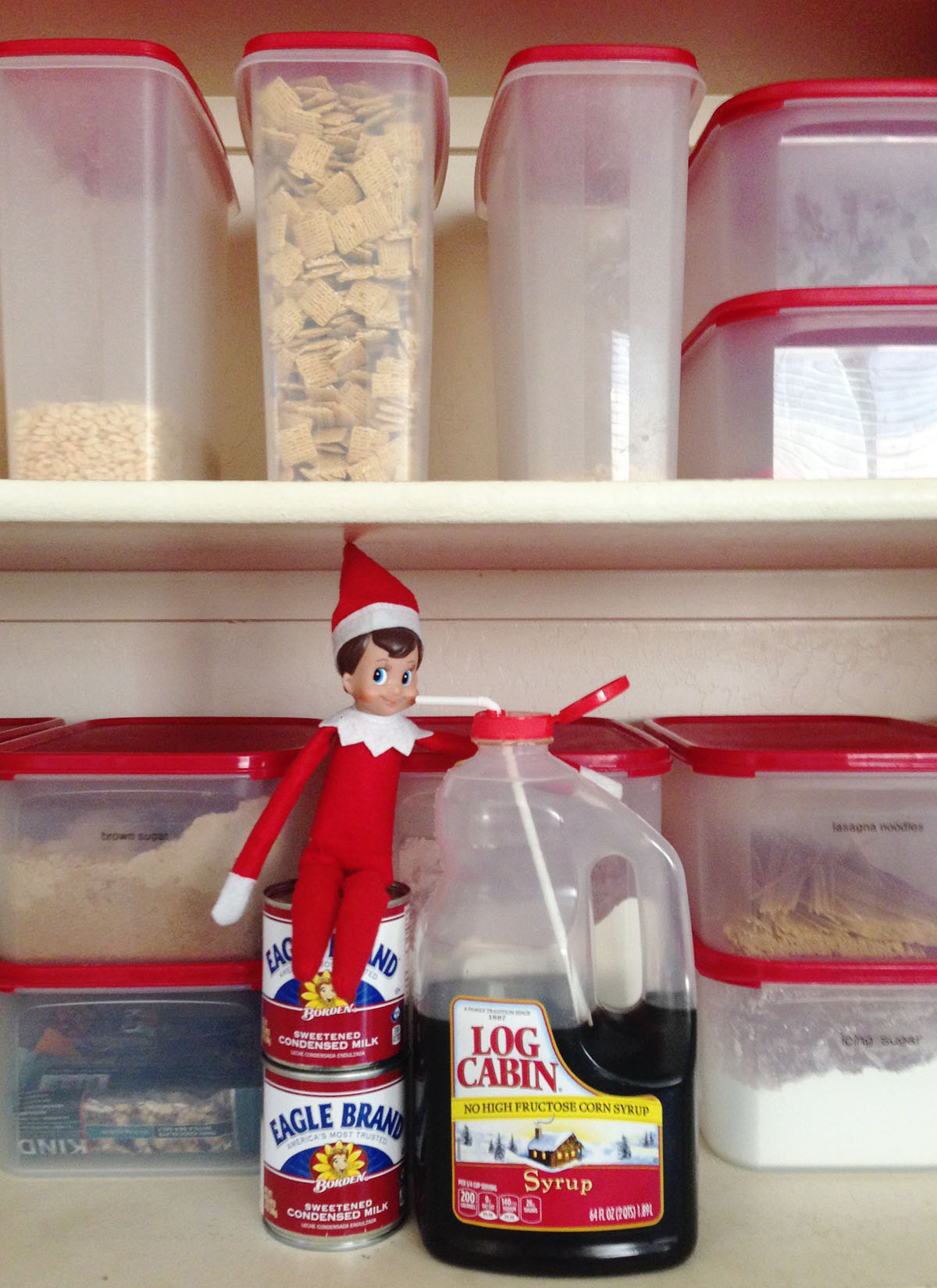Elf gets himself a sweet drink. Delicious!