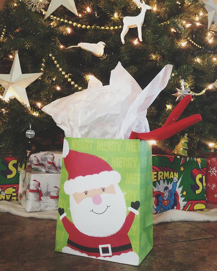 Elf snooping in the presents.