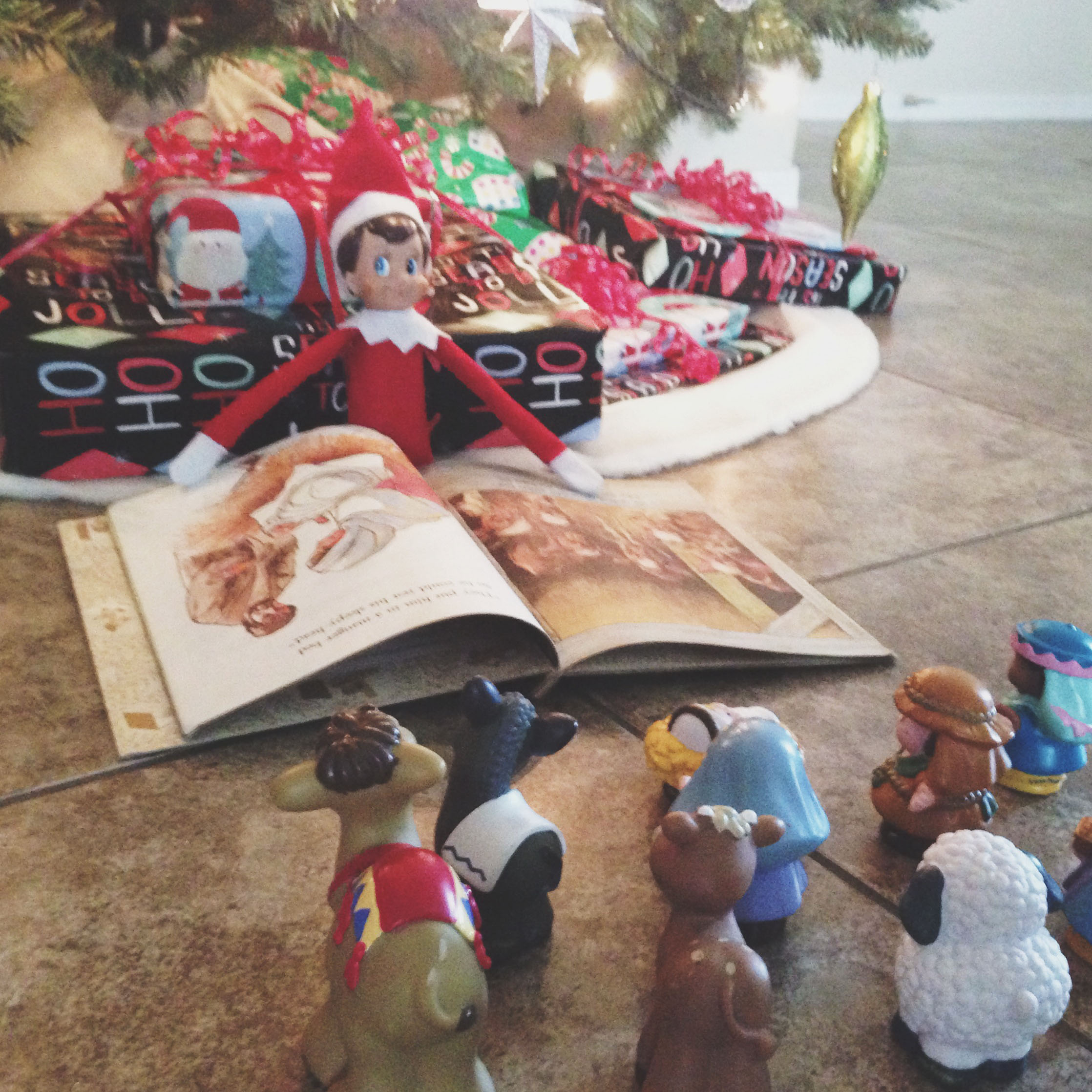 Elf reads the story of the first Christmas to the nativity people.