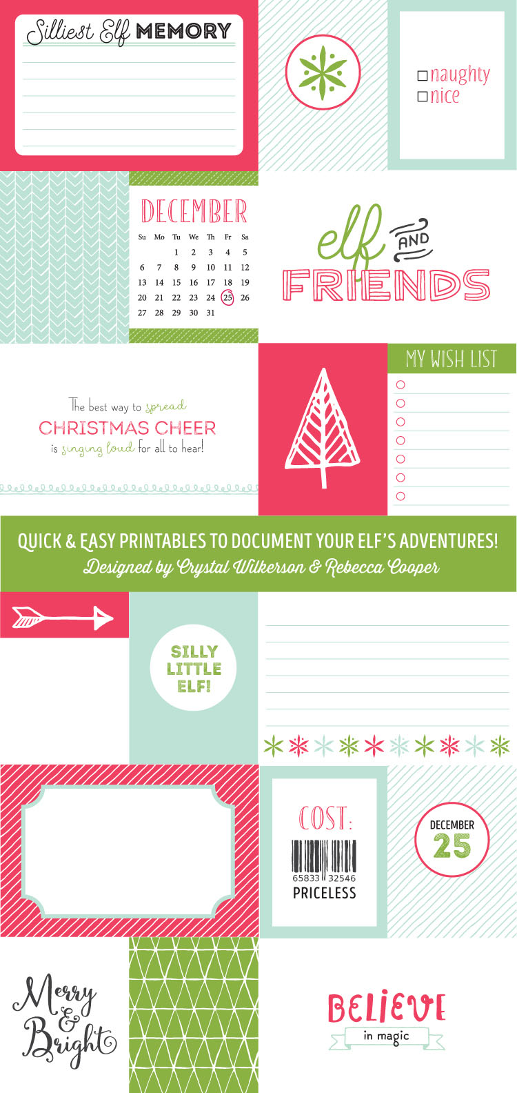 Printable Elf on the Shelf journaling and filler cards to document your Elf's adventures. Print and use in your memory albums, as Elf notes or gift tags this Holiday season.