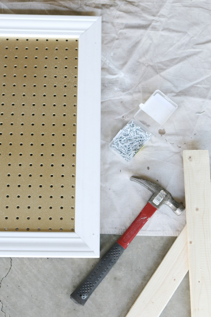 framing painted peg board with crown molding