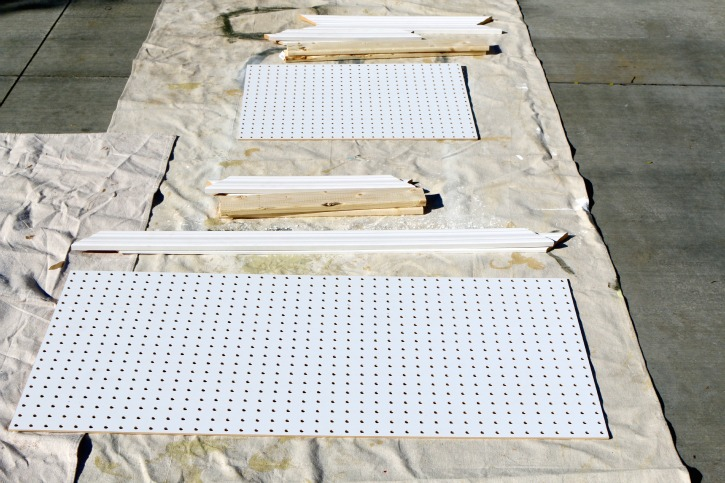 white peg boards and base boards