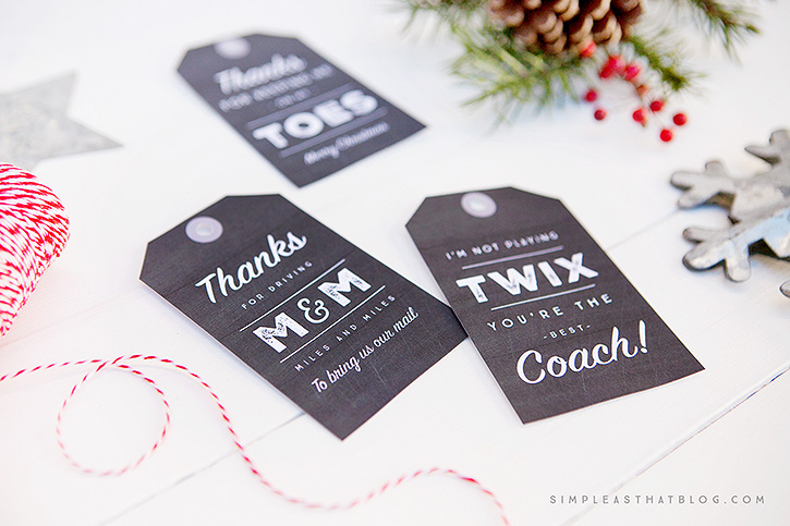 Simple mason jar gifts with printable tags printable christmas gift tags for coach dance instructor mailman and more negle Gallery