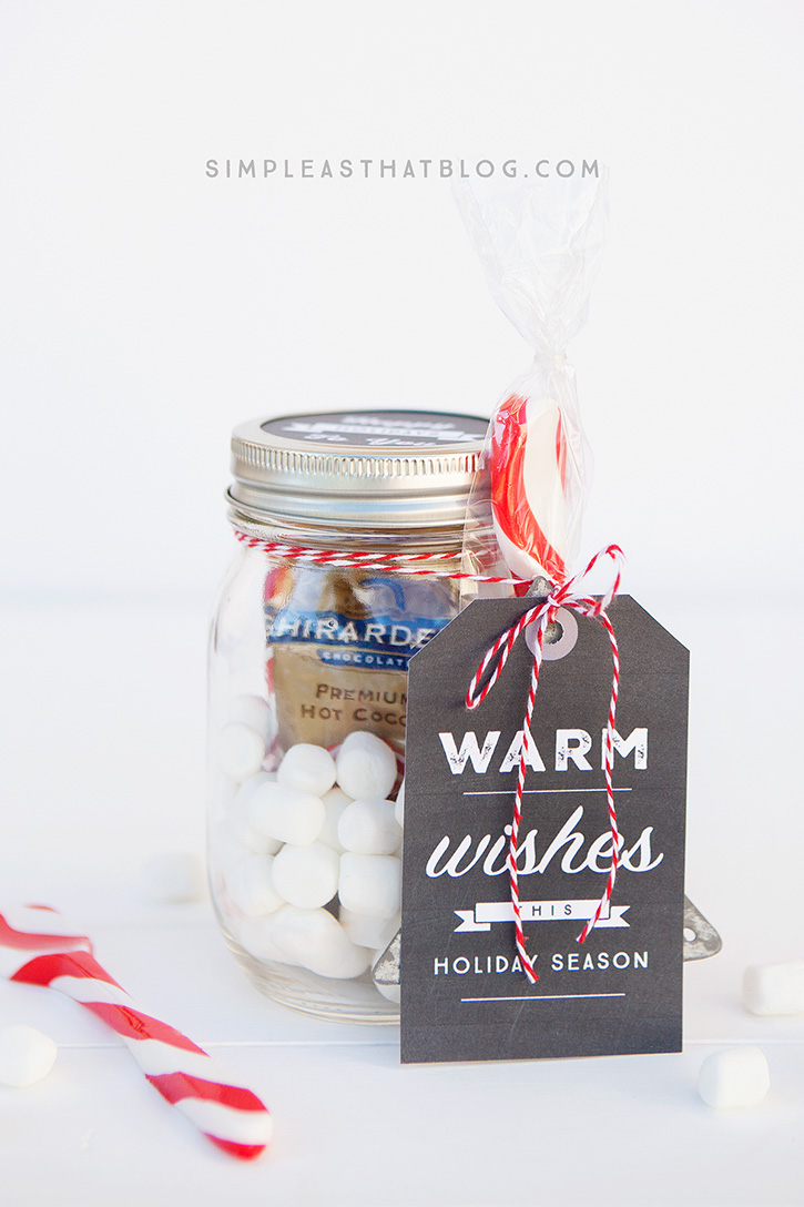 Simple mason jar gifts - Warm Wishes this Holiday Season printable tags.