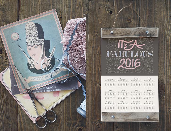 Hand-lettered 2016 Calendar Printable