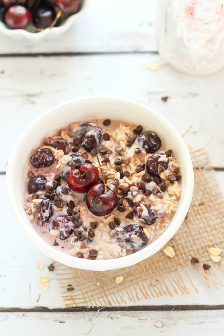 Black Forest Overnight Oats - a delicious blend of cherries and chocolate that make this cold oatmeal recipe a breakfast treat.  Just grab-and-go!
