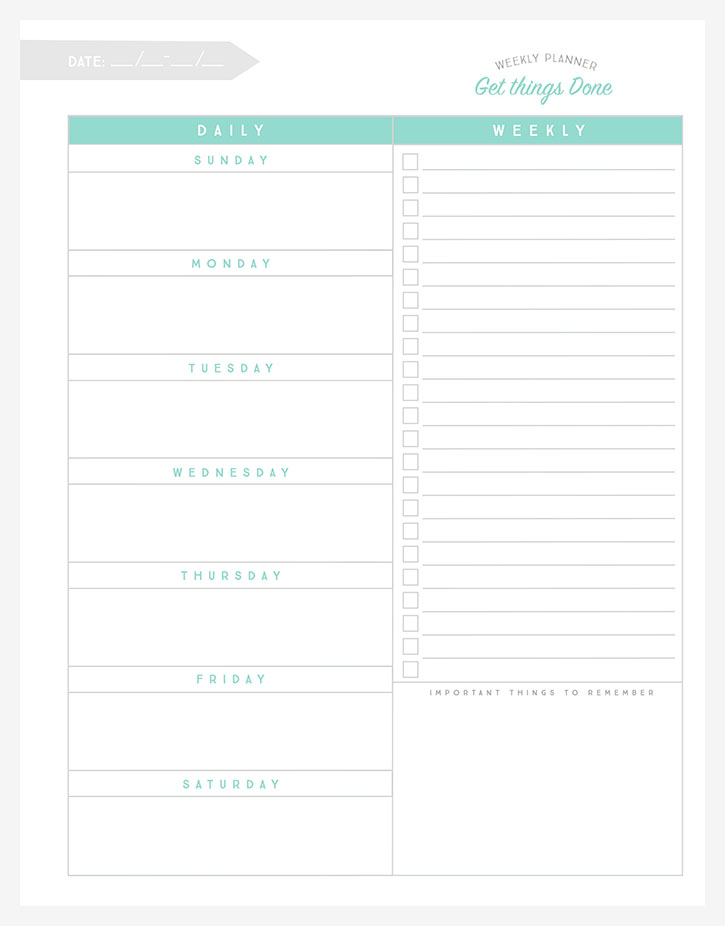 get organized with this free printable weekly planner