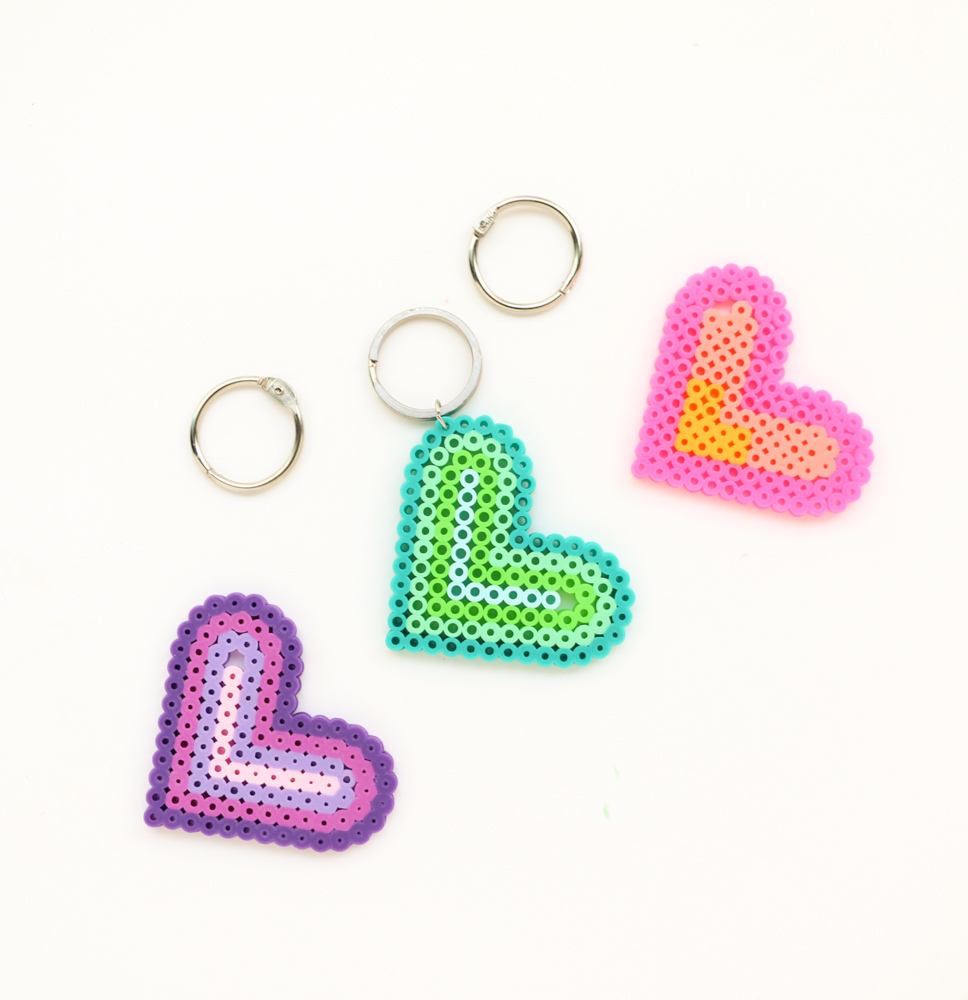 Perler bead Key Chain Heart Valentines