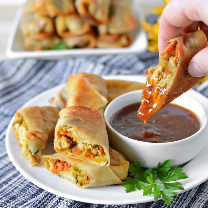 Baked Chicken and napa Cabbage Spring Rolls