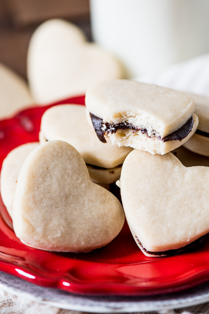 Simple shortbread cookies with a rich, chocolate ganache inside. Egg-free and just 6 ingredients!