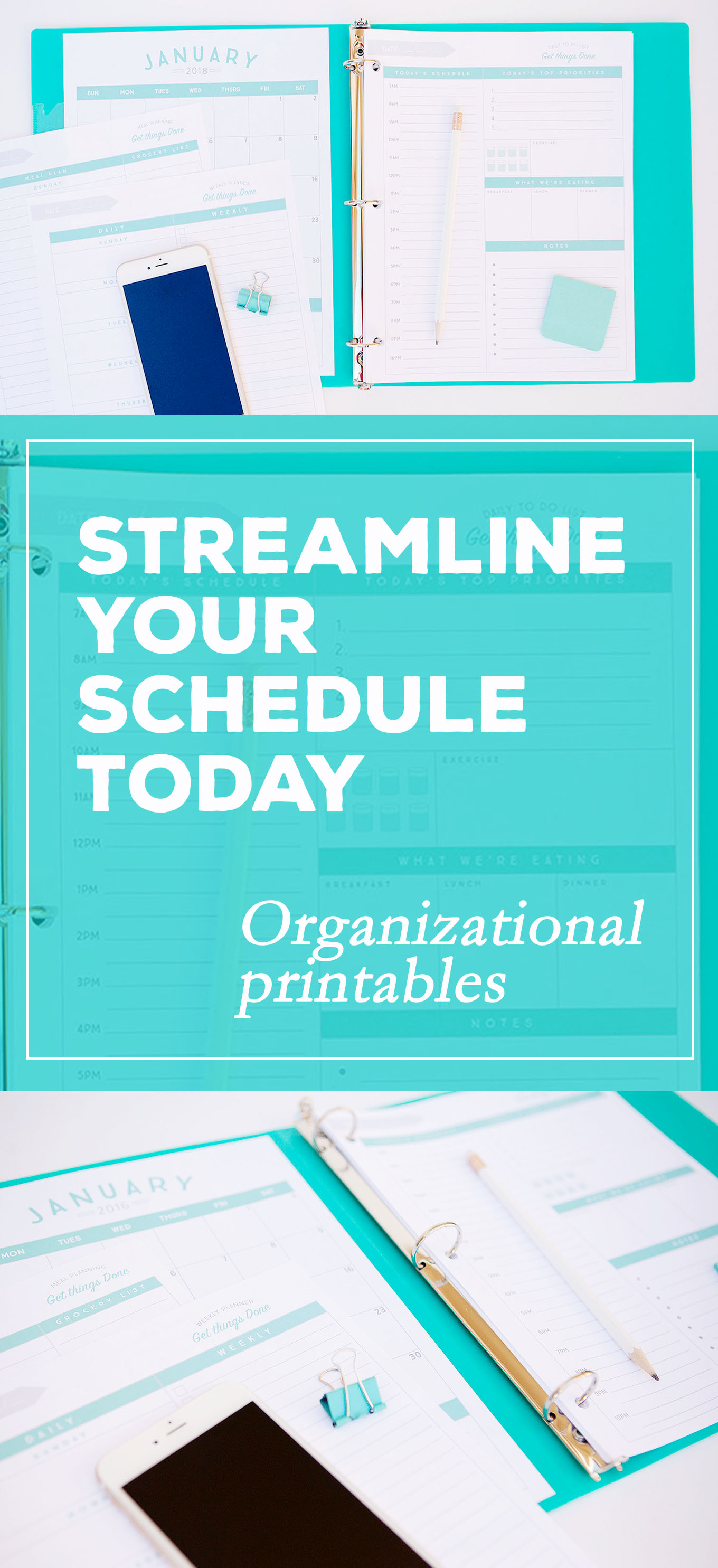 Organizational printables to streamline your to-do lists, your schedule, your meal plans—YOUR LIFE! Enjoy a weekly planner, a daily to-do list and schedule, a meal planner, and a 2018 calendar.