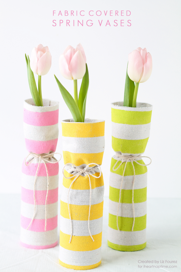 Fabric Covered Spring Vase