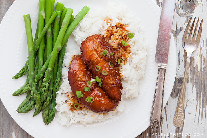 This delicious Apricot Chicken can be made in the slow cooker or in our new favorite kitchen gadget - the Instant pot. With just 4 ingredients, this dish is both easy and tasty! It's the perfect solution if you need dinner in a pinch.