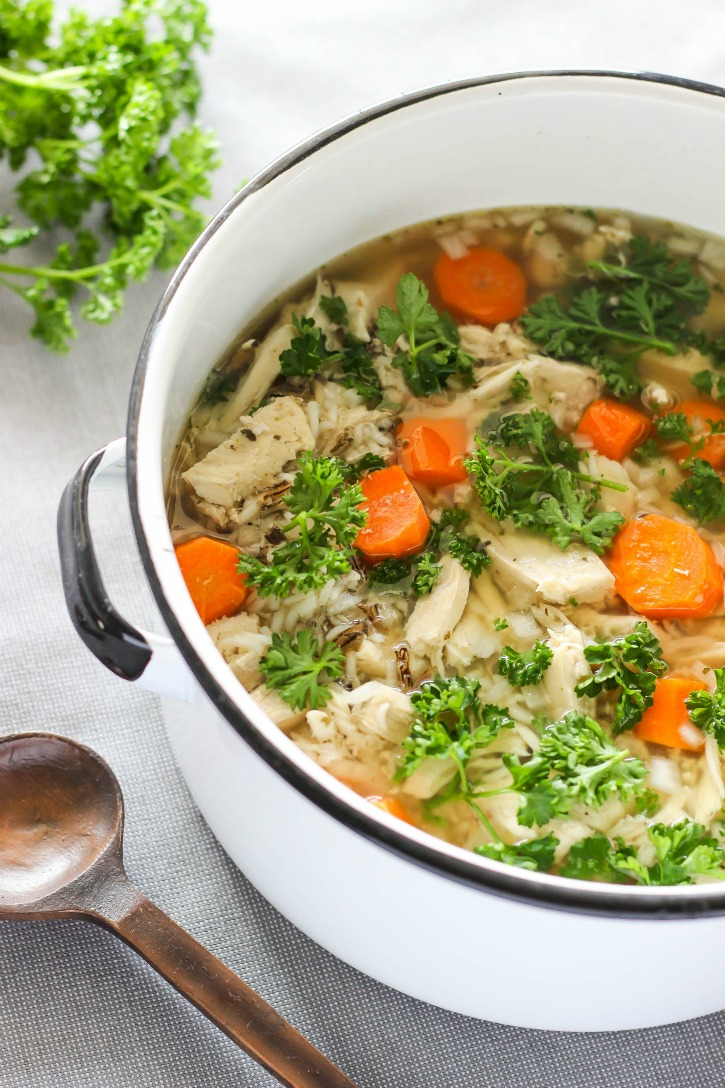 Easy Slow Cooker Chicken and Wild Rice Soup - made with simple, wholesome ingredients. This hearty recipe is perfect for busy weeknights and weekends.